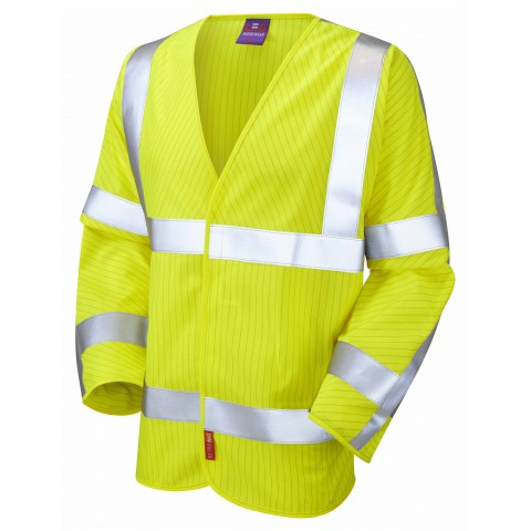ISO 20471 Class 3 LFS Anti-Static Sleeved Waistcoat Yellow EN 14116 LFS/Anti Static Waistcoats