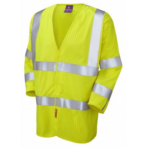 ISO 20471 Class 3 LFS Anti-Static 3/4 Sleeve Waistcoat Yellow EN 14116 LFS/Anti Static Waistcoats