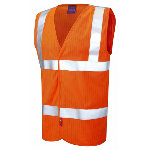 ISO 20471 Class 2 LFS Anti-Static Waistcoat Orange EN 14116 LFS/Anti Static Waistcoats