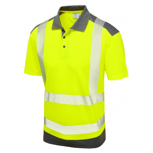 ISO 20471 Class 2 Coolviz Plus Polo Shirt Yellow/Grey Coolviz Plus Polos