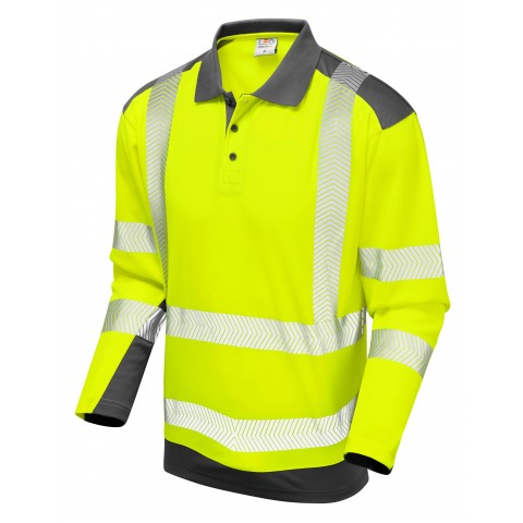 ISO 20471 Class 2 Coolviz Plus Sleeved Polo Shirt Yellow/Grey Coolviz Plus Polos