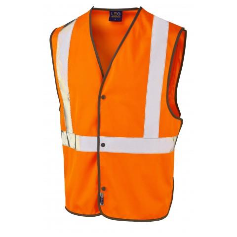 ISO 20471 Class 2 Railway Stud Waistcoat Orange Railway Waistcoats